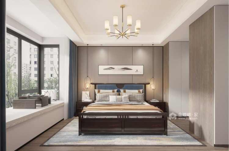 178平观枫四季花园现代风格-极富东方感的清逸淡雅-卧室效果图及设计说明