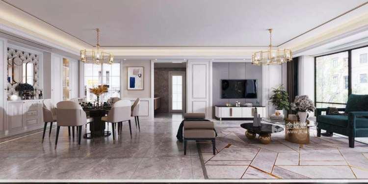 186平雍璟台美式风格-岁月有你-客厅效果图及设计说明