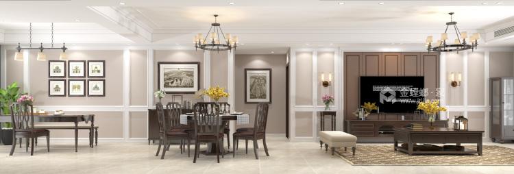 140平荷澜庭美式风格-客厅效果图及设计说明