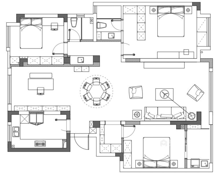 140平荷澜庭美式风格-平面设计图及设计说明