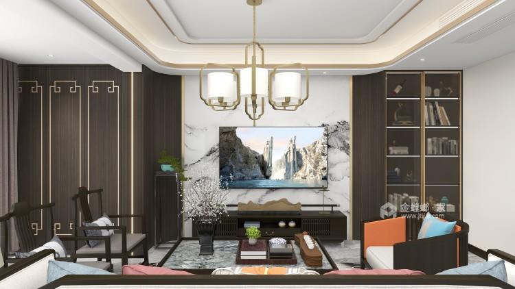 138平黄金时代新中式风格-客厅效果图及设计说明