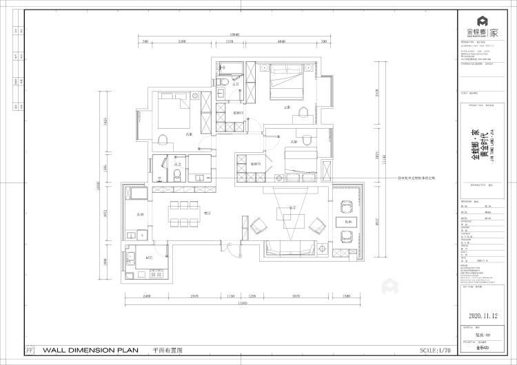 138平黄金时代新中式风格-平面设计图及设计说明