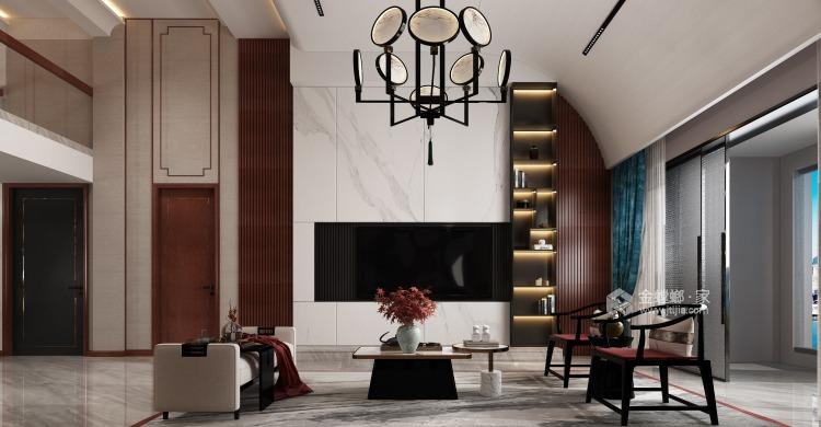 360平大公馆新中式风格—东方意蕴-客厅效果图及设计说明
