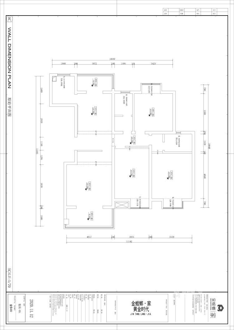 138平黄金时代新中式风格-业主需求&原始结构图