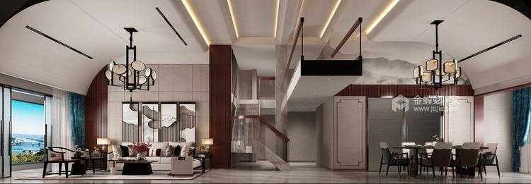 360平大公馆新中式风格—东方意蕴-餐厅效果图及设计说明