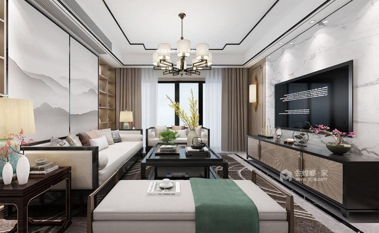 130平淞泽家园新中式风格-传统亦是传承-客厅效果图及设计说明