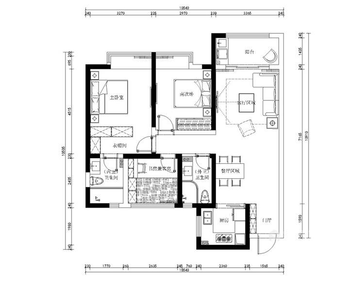 120平龙湖时代天街现代风格-平面设计图及设计说明