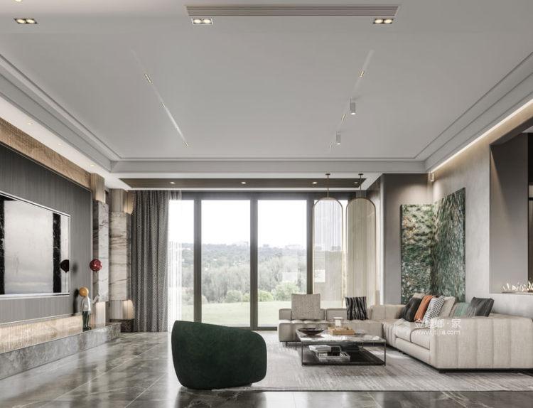 550平东港景园现代风格-简约而又有质感的都市生活-客厅效果图及设计说明