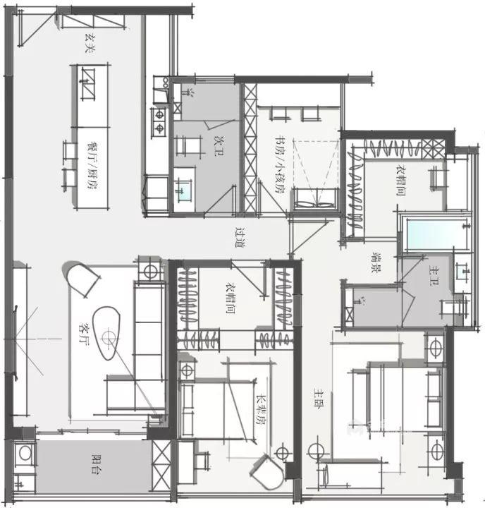 150平碧泉山庄现代风格-平面设计图及设计说明