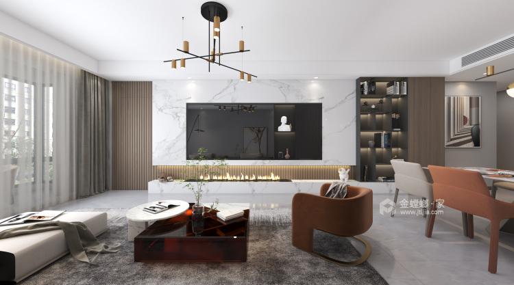 143平御湖宸院现代风格--浅艺-客厅效果图及设计说明