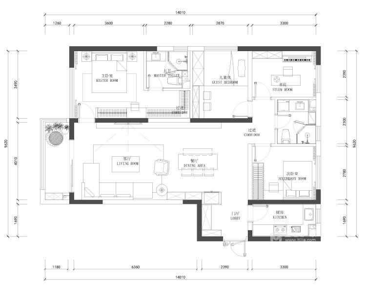 143平御湖宸院现代风格--浅艺-平面设计图及设计说明