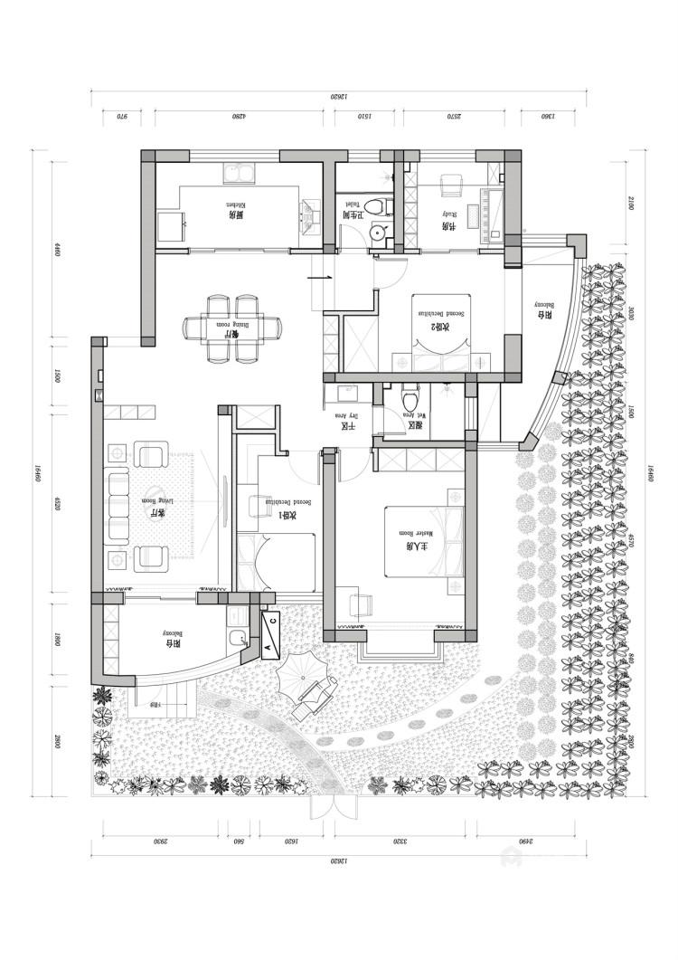 127平苏都花园现代风格-面朝阳光,嘴角上扬-平面设计图及设计说明