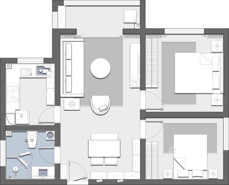 88平同德悦庭现代风格-给你不一样的感受-平面设计图及设计说明