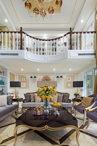 新古典风格的复式,挑高的客厅很出彩-广华轩小区236平米跃层/复式现代装修案例