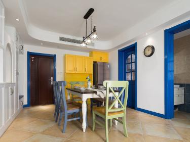 蓝色与橙黄的碰撞,98平田园风格赏析-茶庄印象小区98平米2室田园装修案例