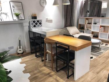 53平小户型精致北欧风,开放式厨房了解一下-瑞虹新城小区53平米1室北欧装修案例