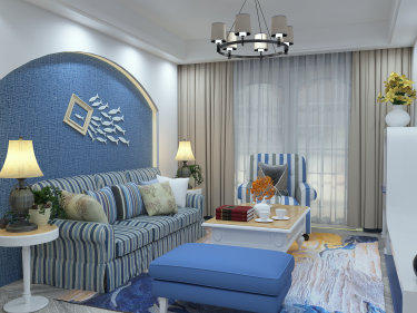 三室地中海风格,别样的异域风情-德惠景苑小区104平米3室地中海装修案例