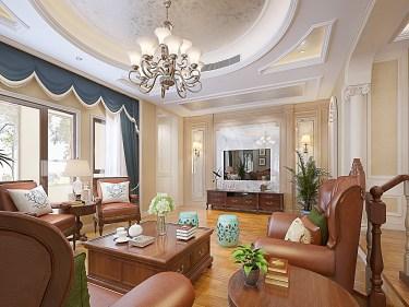 500m²美式别墅,雍容华贵、典雅奢华!-林溪湾小区500平米别墅美式装修案例