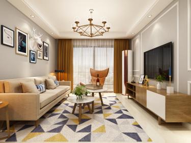 一房、两人、三餐、四季、一辈子的生活,94平北欧风-南山柠府小区94平米3室北欧装修案例