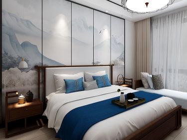 黛蓝窗棂、简洁直线条,143平中式韵味家-中航樾园小区143平米别墅新中式装修案例