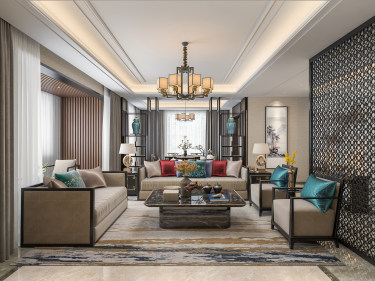 注重韵味的表达 空间和谐--263平新中式赏析-香榭里小区263平米4室新中式装修案例