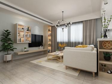 暖色系小窝:小两口的最爱-长江之歌小区75平米2室现代装修案例