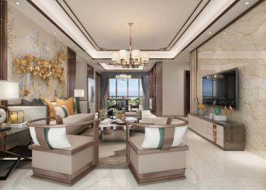 140平4室新中式客厅