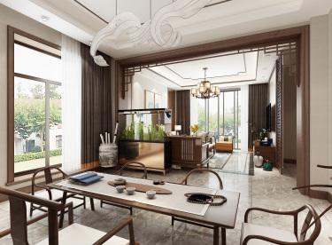 267平别墅 自然的色调搭配胡桃色系家具,简洁美好,浸透着东方特有的层次感