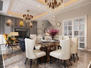 三口之家浓浓书卷气息的美式轻奢大宅-碧桂园小区216平米5室美式装修案例