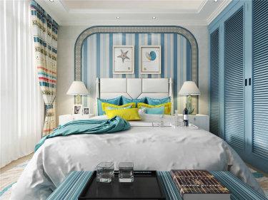 让你眼前一亮的蓝色的地中海风格案例-富力桃园小区100平米3室地中海装修案例