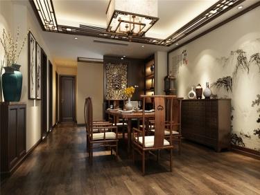 135平实木原木的中式风格-家乐苑小区135平米3室中式装修案例