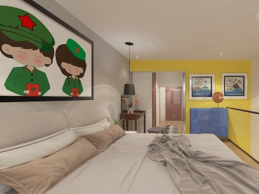 俏皮可爱的明黄色两口之家-常青藤小区43平米跃层/复式欧式装修案例