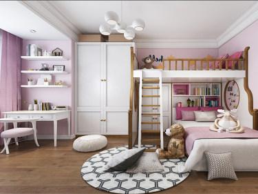 粉红儿童乐园 营造出一个更为纯净的睡房-玲珑湾小区140平米3室美式装修案例