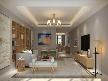 205现代中式五居简单舒适生活-解放军报社小区205平米5室新中式装修案例