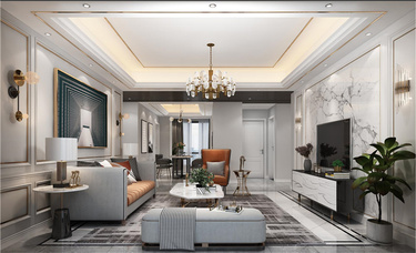轻奢+美式,精致中带着一丝慵懒-东尚名品小区139平米3室美式装修案例