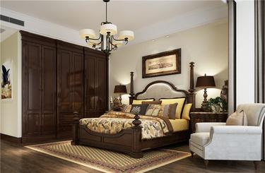 这样背景墙设计,看着就温馨到你!-元泰汗府小区280平米4室美式装修案例