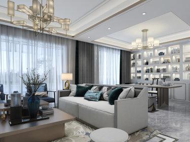 新中式与现代轻奢   简洁明快的混搭  营造最舒服的家-灏景天下小区200平米跃层/复式新中式装修案例