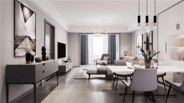 大气简约的现代风格装修,黑白灰三色搞定高级感