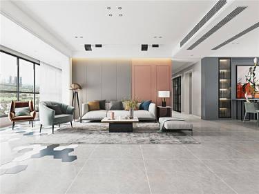 简约休闲的北欧婚房,粉柔美-碧桂园豪园小区190平米4室北欧装修案例