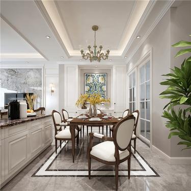 200平优雅美式  演绎品质生活-丽景花园小区200平米跃层/复式美式装修案例