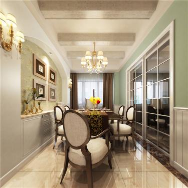 莫兰迪色系美式   成就优雅的和谐-中央景城小区140平米4室美式装修案例