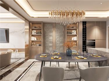 胡桃木色现代轻奢    设计规划优雅的未来生活-中航樾园小区265平米别墅现代装修案例