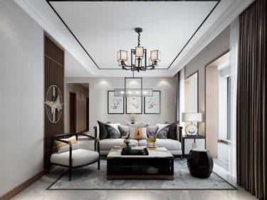 99平极简新中式  禅意幽静的港湾成就梦想之家-蔚蓝四季小区99平米3室新中式装修案例