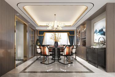 新中式风格-前程QCC小区157平米5室新中式装修案例