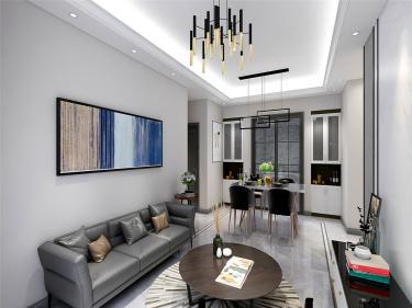 黑白灰-华润江南府小区108平米3室现代装修案例