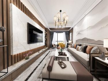 借景山水-水岸清华小区125平米3室新中式装修案例