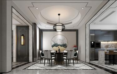 方圆之间-天合公馆小区450平米别墅新中式装修案例