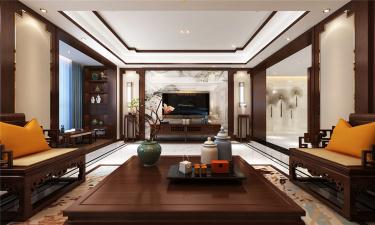 雅舍东方之美-甪直自建房小区320平米跃层/复式新中式装修案例