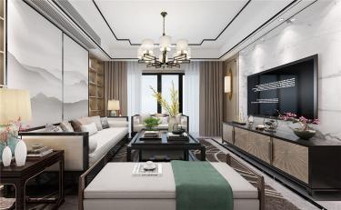 新中式生活-淞泽家园小区130平米3室新中式装修案例
