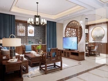 185平中航樾园新中式风格-最美东方设计-中航樾园小区185平米别墅新中式装修案例